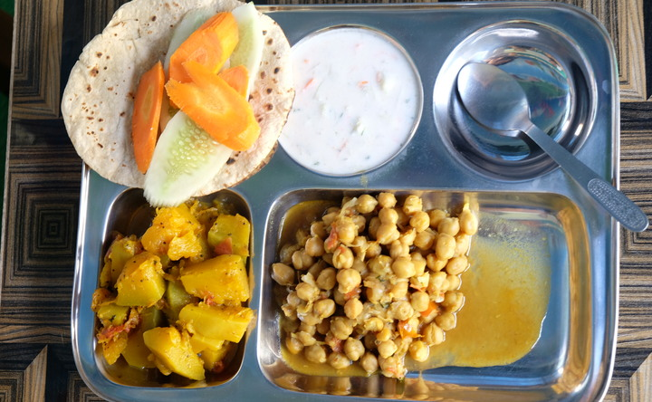 Traditional yogic food at Sanskar Yoga Shala Rishikesh