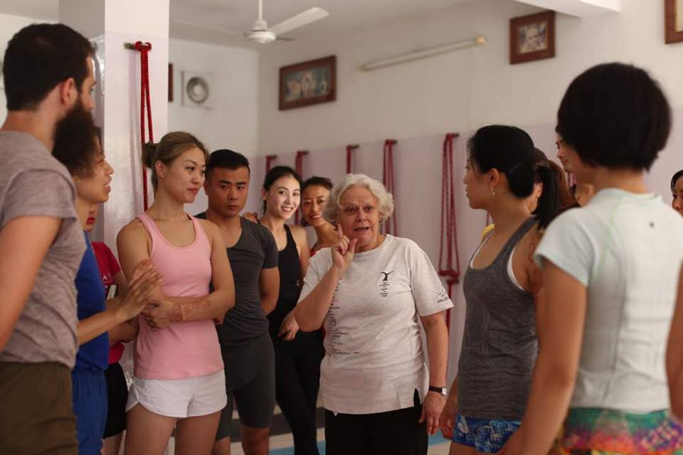 Usha Devi teaching Iyengar yoga intensive course in India Rishikesh