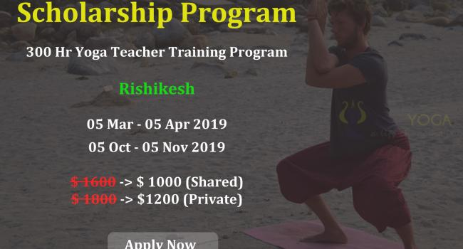 Yoga event 300 Hr Yoga Teacher Training Scholarship Program in Rishikesh India [node:field_workplace:entity:field_workplace_city:0:entity]