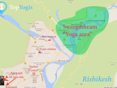 Rishikesh map of the city how to get to yoga schools and shrams